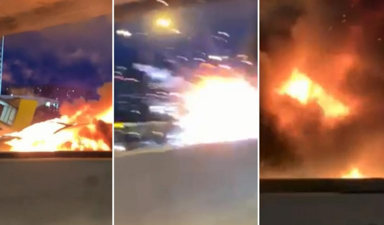 Une Tesla prend feu et explose en plein milieu de l'autoroute
