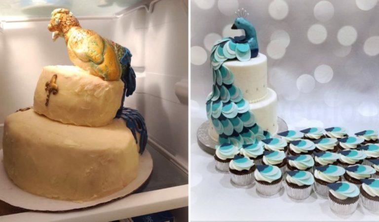 Elle a commandé un gâteau en forme de paon pour son mariage et obtient « une dinde lépreuse »