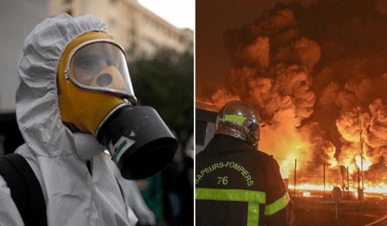 Incendie de l'usine Lubrizol à Rouen : les photos chocs montrant masque à gaz, nuages noirs,…