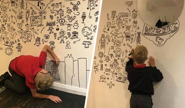 Ce garçon de 9 ans a été embauché pour gribouiller sur le mur d'un restaurant et c'est magnifique