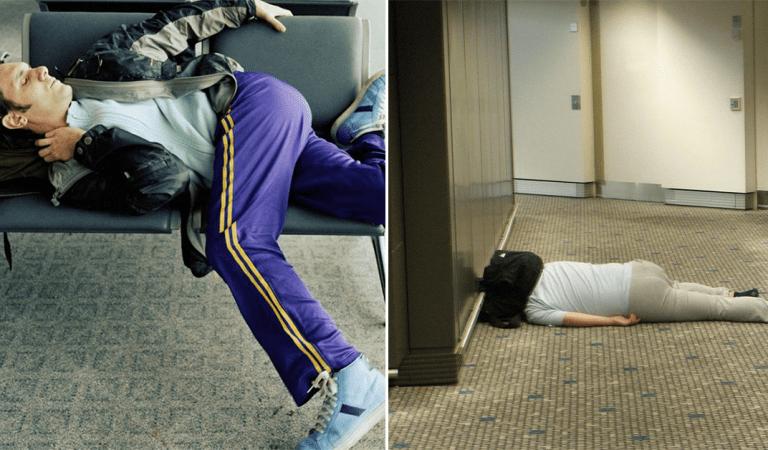 14 images hilarantes de voyageurs qui sont arrivés complètement épuisés à l'aéroport