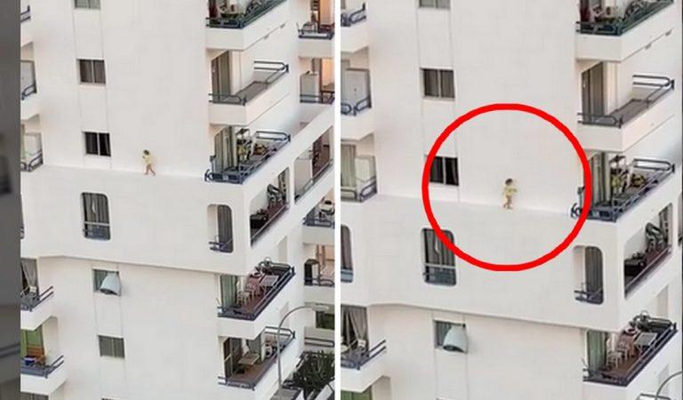 Une fillette filmée sur une corniche au 5e étage affole la toile
