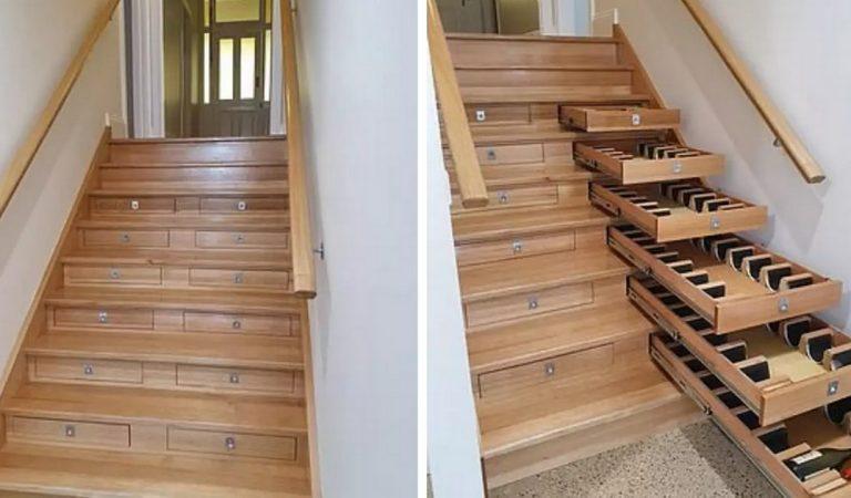 Il a transformé son escalier en cave à vin pouvant contenir 156 bouteilles