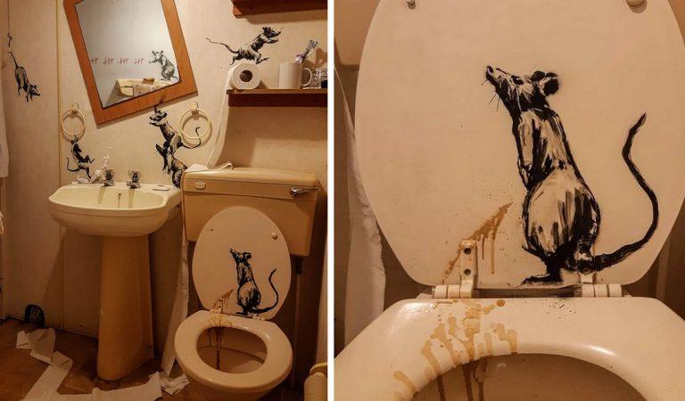 Confiné, l'artiste Banksy nous montre sa nouvelle oeuvre réalisée dans… sa salle de bains !