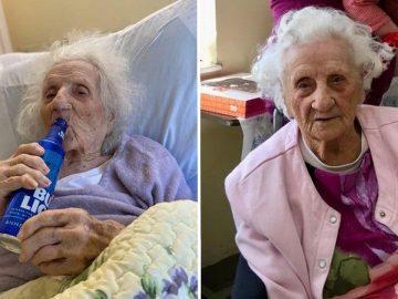 femme centenaire fête guérison covid avec une bière