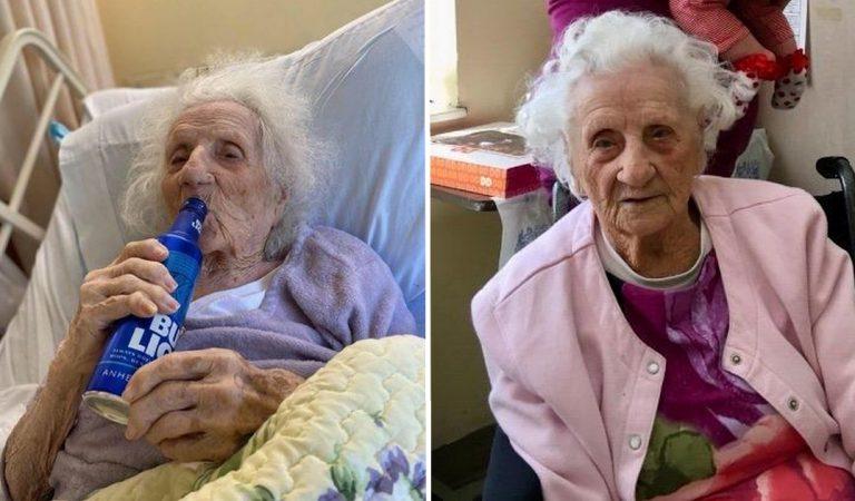 À 103 ans, cette arrière-arrière-grand-mère fête sa guérison de la COVID-19 avec une bière