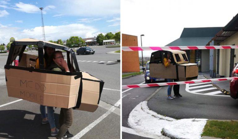 La famille se rend au drive McDonald's…dans une voiture en carton !