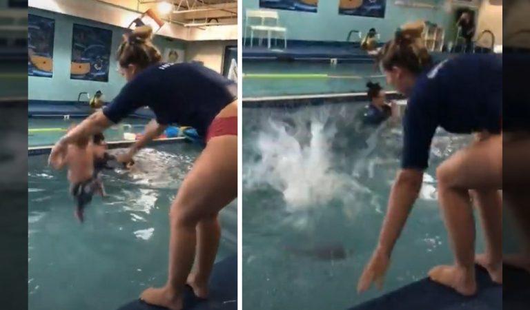 Une vidéo montrant une femme jeter un bébé dans une piscine indigne les internautes