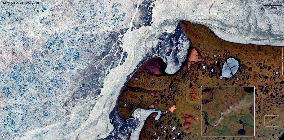 L'Arctique en feu, vu de l'espace : un record de température atteint en Sibérie le 20 juin 2020