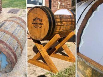 ce futur papa construit un berceau à partir d'un fût de whisky Jack Daniel's