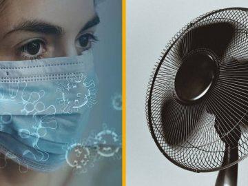 Une femme se protégeant contre le covid-19 et un ventilateur.