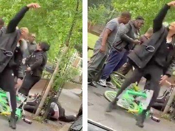 Il s'amuse à prendre un selfie devant un policier qui se fait tabasser.
