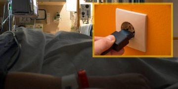 Un patient sous respirateur artificiel, à l'hôpital.
