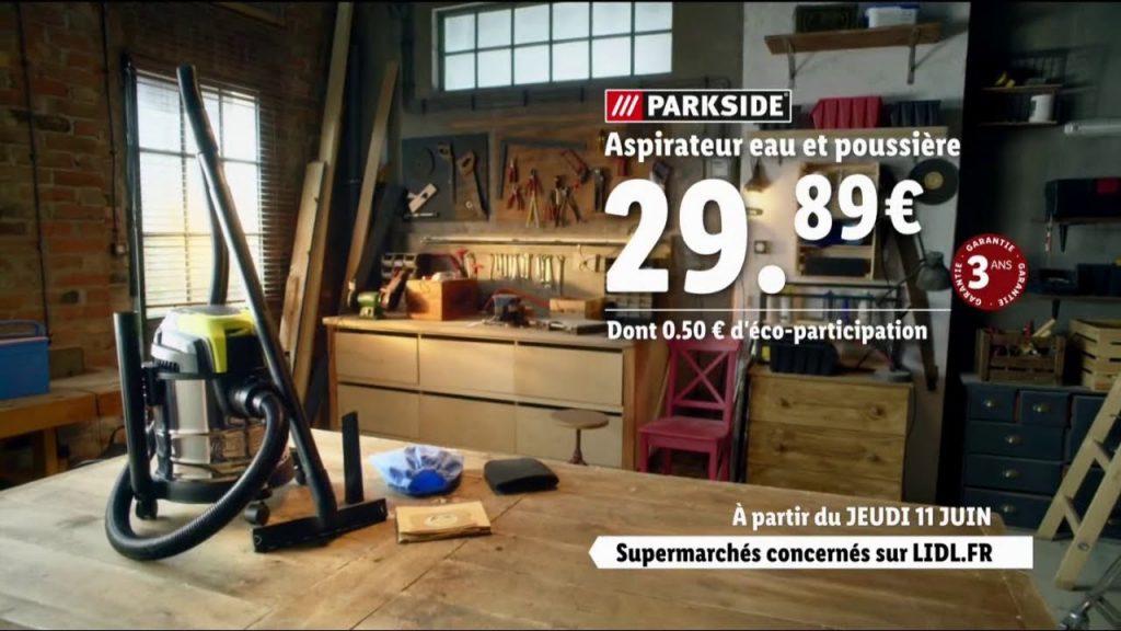 Publicité Lidl pour l'aspirateur Parkside eau et poussière