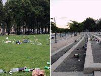 pelouse des Invalides à Paris et berges du Rhône à Lyon sous des tas de déchets