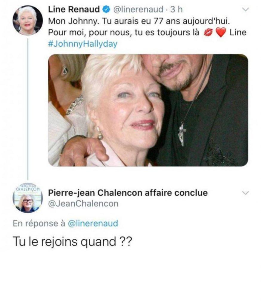 Line Renaud rend hommage à Johnny Hallyday sur Twitter.