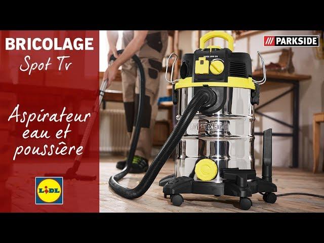 Spot TV Parkside présentant l'aspirateur eau et poussière vendu chez Lidl