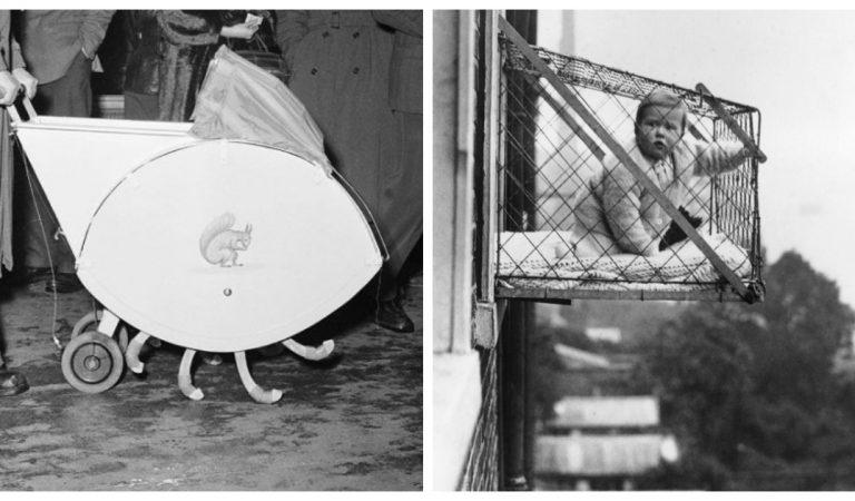 13 photos étonnantes de berceaux, poussettes et sièges bébé de l'ancien temps
