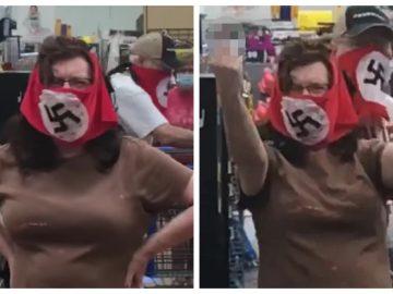 La femme portant un drapeau nazi en guise de masque contre le Covid-19.