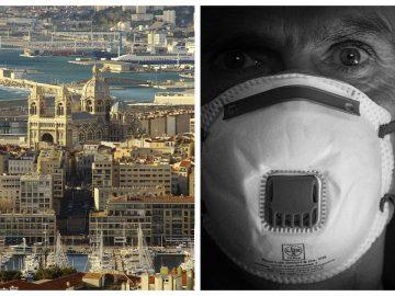 La ville de Marseille et un homme se protégeant contre le Covid-19.