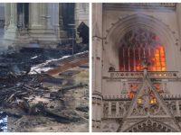 La cathédrale de Nantes incendiée.