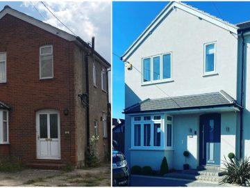 Avant et après la rénovation de la maison familiale. E
