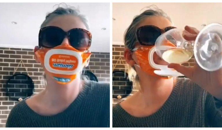 Vidéo : Une maman invente un masque pour boire du vin avec un paquet de lingettes pour bébé