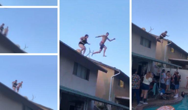 Elle tente de plonger du toit lors d'une «pool party»: Aie Aie (vidéo)