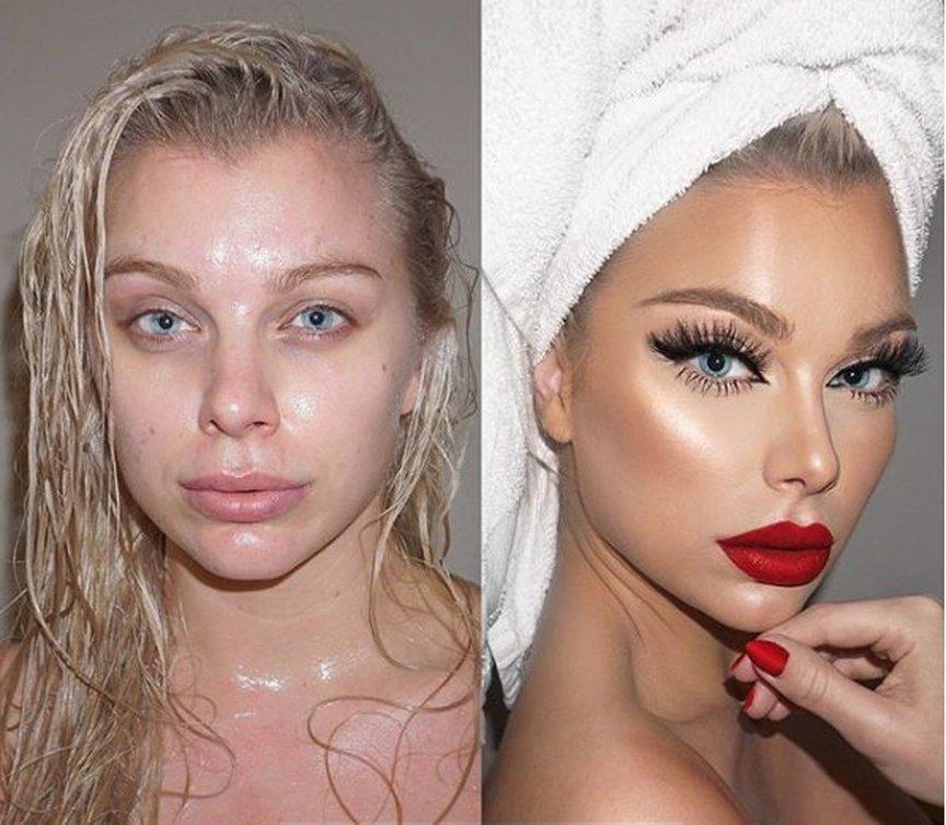 avant-après make-up glamour