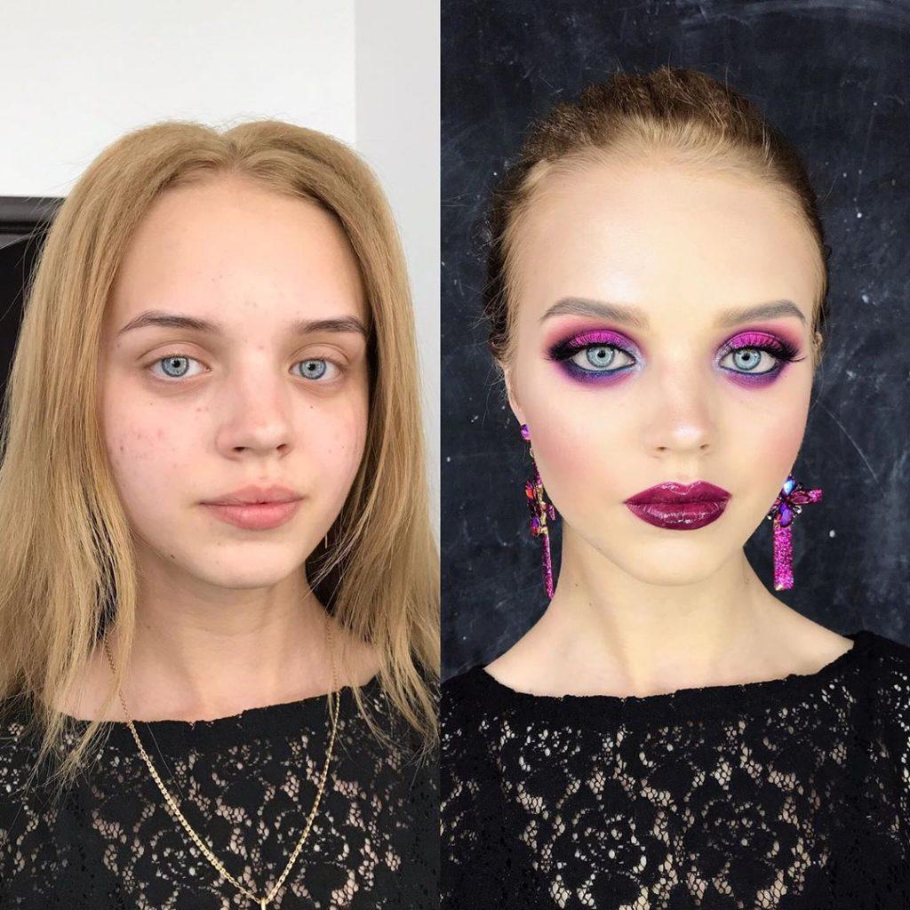 maquillage prune rose réussi