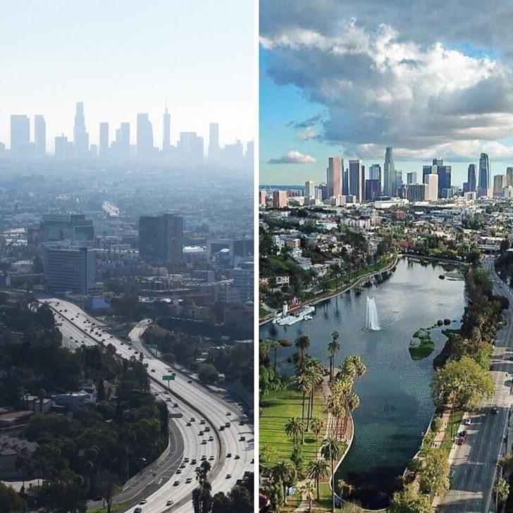 Los Angeles avec et sans pollution