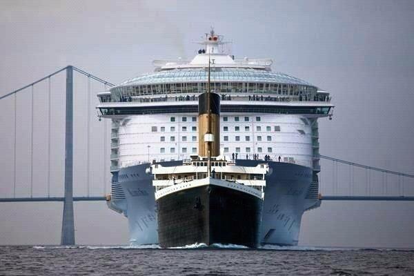 Le Titanic en réalité petit par rapport aux bateaux de croisière actuels