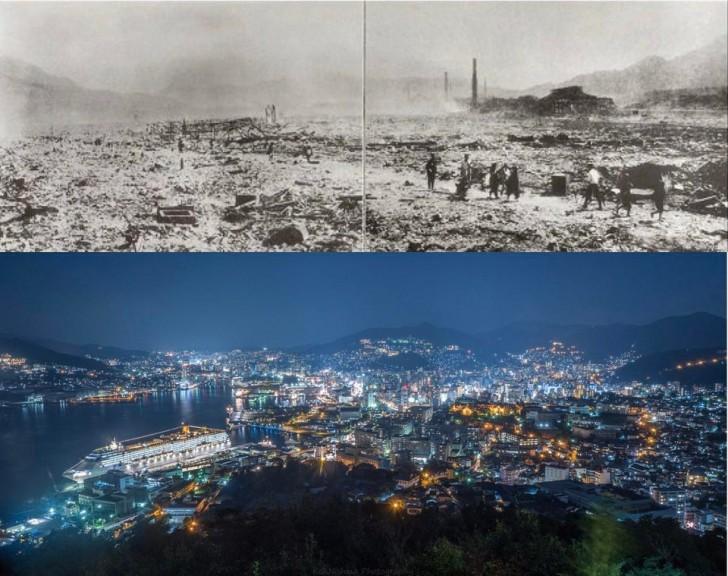 Nagasaki maintenant et juste après l'explosion atomique