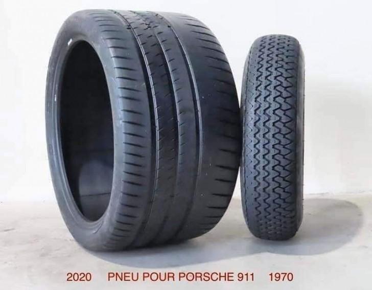 Un pneu de Porsche en 2020 et en 1970.