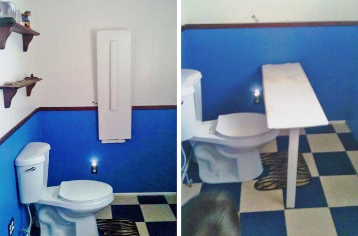 table escamotable toilettes