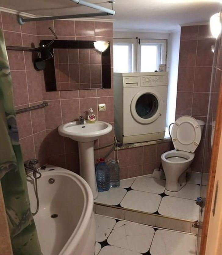 lave linge près WC