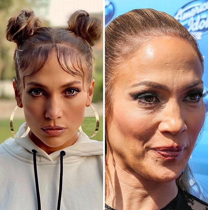 Jennifer Lopez qui paraît plus jeune en retouchant ses photos.