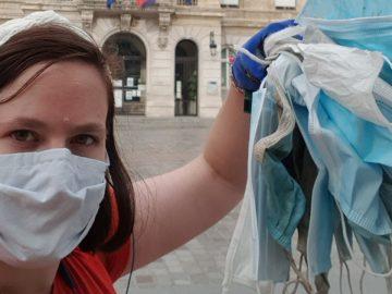 Pairs Alix ramasse masques usagés jetés n'importe où