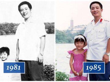 Photo père et fille, une photo de famille rare.