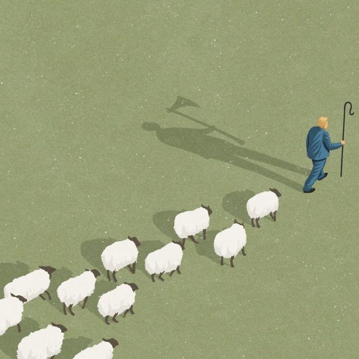 Danger sur les réseaux sociaux : les followers qui suivent comme des moutons un influenceur.