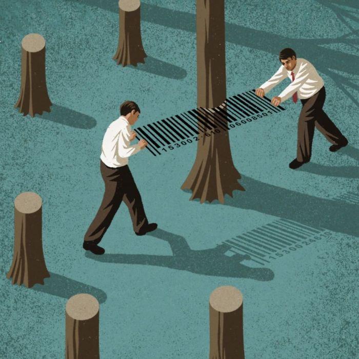 La société de consommation qui détruit l'environnement.