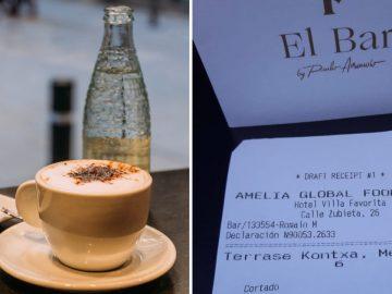 La facture d'un bar en Espagne : 4,50 euros le café.