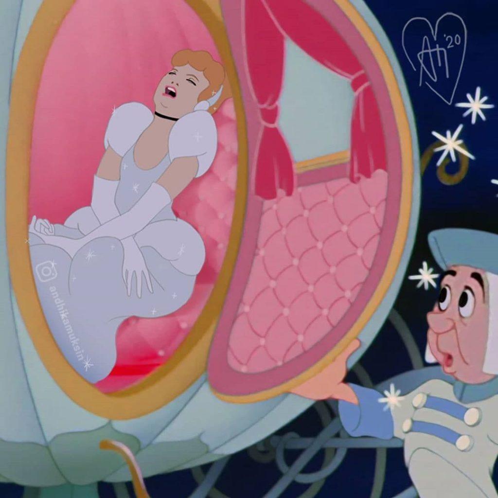 Andhika Muksin illustrations drôles princesses Disney vie réelle Cendrillon