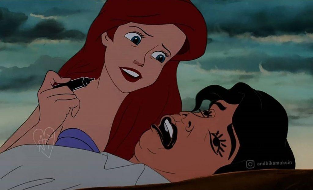Andhika Muksin illustrations drôles princesses Disney vie réelle Petite Sirène