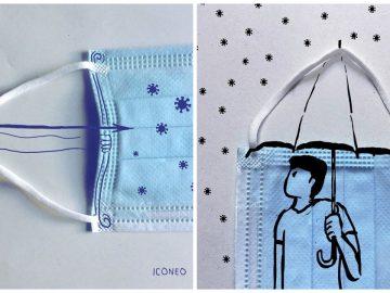 Illustrations du masque réalisées par Iconeo sur Instagram.