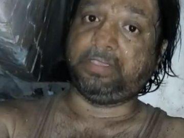 Khalid Khan piégé sous les décombres de son immeuble, en Inde.