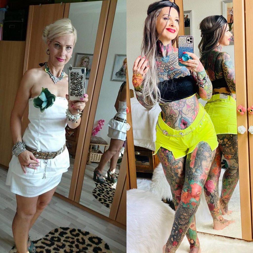 Kirsten Tristan avant et après ses tatouages