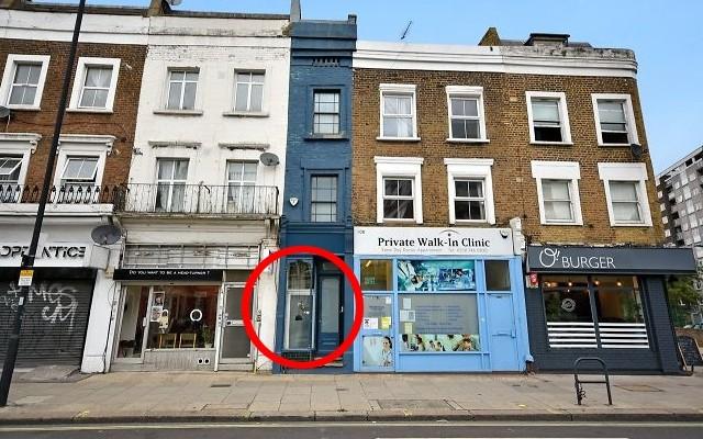 façade bleue maison largeur 2 mètres Londres