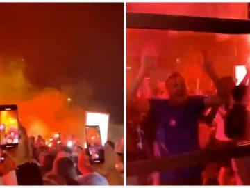 Les supporters de l'OM à l'aéroport de Marignane après la victoire de l'OM contre le PSG.
