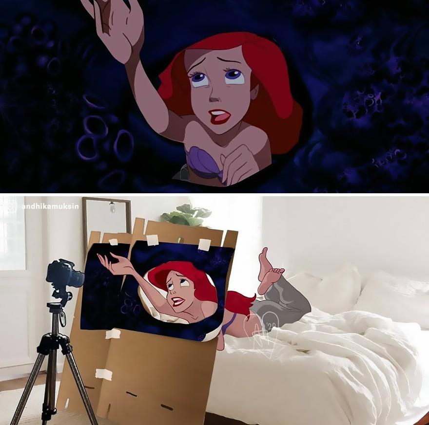 illustrations drôles making-of films Disney Andhika Muksin petite sirène